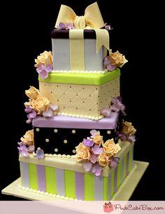 www.facebook.com/cakecoachonline - sharing... Hydrangea & Roses Stacked Gift Box Cake