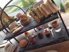 food served on slate Burnley Lancashire, Tiered Stand, Cafe Restaurant, Shop Ideas, Afternoon Tea, Slate, Coffee Shop, Tea Party, Restaurants