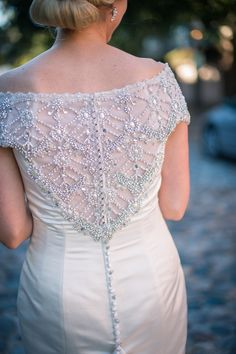 Beaded Wedding dress back - Charleston wedding at the Mills House Hotel by Molly Joseph Photography