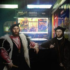 """Ukrainian art director Alexey Kondakov has imagined what it would be like if figures from classical art lived normal urban lives. He uses Photoshop to plop the figures into different situations including a harp-playing street musician, an angel on the train, and a couple of nobles in a pub. """"I thought, 'What if I invite these  into our reality and imagine they are on streets of modern Kiev?,"""" he says. """"… My project is about life."""" In many cases, their unamused or sad expressions match the…"""