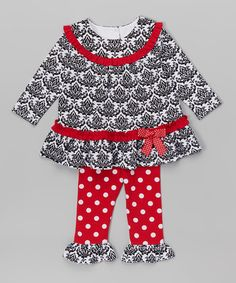 Another great find on #zulily! Black Damask Ruffle Top & Leggings - Infant, Toddler & Girls #zulilyfinds