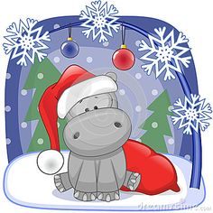 christmas hippo clipart - Google Search | Toy Time Art Classes ...
