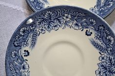 Churchill Blue Harvest Saucer Set of 3 England by PanchosPorch