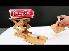 How to Make Hydraulic Powered Robotic Lift Crane From Cardboard School Science Experiments, School Science Projects, Stem Projects, Mechanical Engineering Projects, Rockets For Kids, Stem For Kids, Stem Activities, Craft Stick Crafts, Bamboo Skewers
