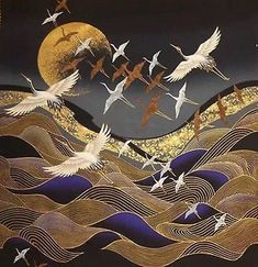 "Japanese Cotton Fabric © Kona Bay Panel ""Flying Cranes, Waves and Golden Moon "" Japanese Textiles, Japanese Patterns, Japanese Prints, Japanese Fabric, Japanese Painting, Chinese Painting, Chinese Art, Japanese Artwork, Art And Illustration"