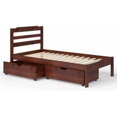 Manhattan Comfort Hayden Twin Storage Bed with 2 Drawers, Brown