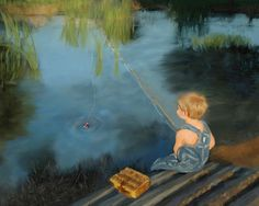 Boy Fishing Photograph 8x10 Wall Art Nursery Art Photo Painting