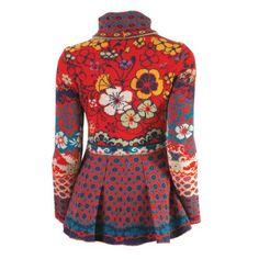 IVKO Jacquard Knit Peplum Sweater