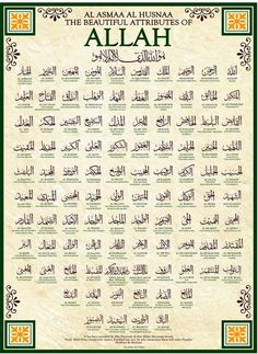 99 Names of Allah ****Did you know, that Muslims call on God by other names besides God (Allah SWT)? --The Creater, The Almighty, The Most Merciful, The Compassionate, The All Knowing, The Maker, The Just, The Judge, The Ever Living, The First, The Last, The Ever Lasting, etc.