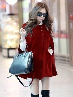 Red Fashion Womens Batwing Woolen Poncho Jacket Winter Warm Cloak Outwear