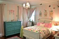 This here is my daughter's room. I love her PB Teen duvet and the pinstripe-pink painted walls. 4 Year Old Girl Bedroom, Little Girl Rooms, Girls Bedroom, Bedroom Themes, Bedroom Ideas, Bedroom Decor, Comfy Reading Chair, Cute Furniture, Pb Teen
