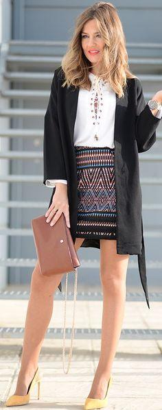 Black Jacket White Alce Up Blouse Ethnic Skirt Fall Inspo by Mi Aventura Con La Moda