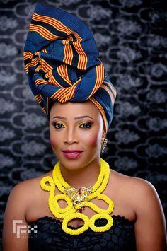 Unsual combo of aso-oke and necklace ~African fashion, Ankara, kitenge, African women dresses, African prints, Braids, Nigerian wedding, Ghanaian fashion, African wedding ~DKK