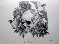 Tattoo Skull Bird And Awesome Drawing Sketch Black