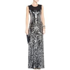 BCBGMAXAZRIA Gladys Sequined Evening Gown ($368) ❤ liked on Polyvore