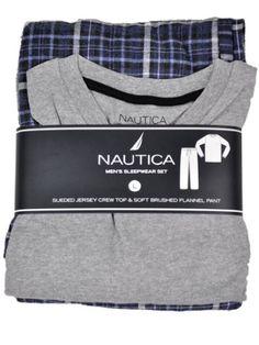 Nautica Mens Sleepwear Set Jersey Crew Top & Flannel Pants Blue Gray Pajamas Medium