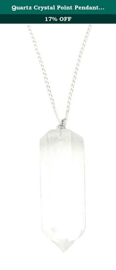 "Quartz Crystal Point Pendant, Chakra Reiki Gemstone Sterling Silver 18"" Necklace, Chakra Energy Jewelry. This neckalce is an 18 inch Sterling Silver chain necklace with a 40mmx14mm (1.57""x0.51"") Quartz Crystal gemstone pendant. Quartz Crystal is know as a power stone. It is believed to direct and amplify energy and is beneficial for manifesting, healing, meditation, protection, and channeling."