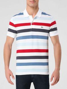 Polo Lacoste Branco / Vermelho - Glamour Lacoste Polo Shirts, Polo T Shirts, Camisa Polo, Glamour, Boys Pajamas, Striped Polo Shirt, Men Looks, Preppy, Casual Shirts