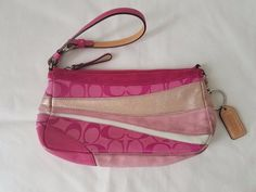 Coach Hot Pink Quilted Canvas Leather Buckle Wristlet Purse  #Coach #wristlet
