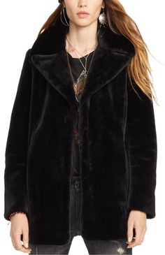 Faux-Fur Coat:  The Denim & Supply oversize faux-fur coat is perfect for colder temperatures. Complement its slightly oversized proportions with a skinny jean.