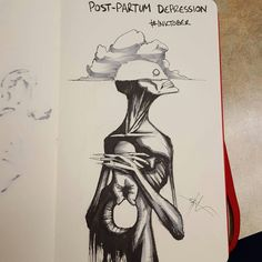 Post-partum Depression by Shawn Coss, #inktober series.