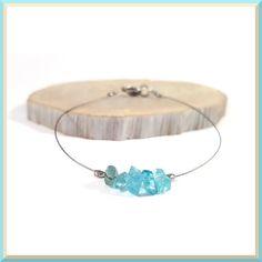 Dainty bracelet blue apatite jewelry silver by DSNatureetCreation