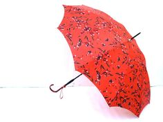 Vintage umbrella parasol, red and black with cherry blossoms 1950's.