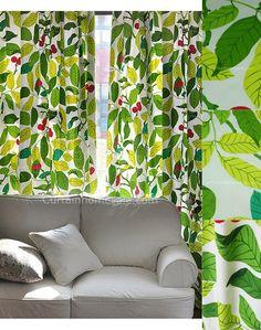 Decorative Tropical Print Green Fiber Modern Curtains Designs