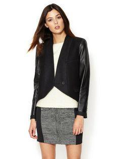 Wool Leather Sleeve Cropped Jacket