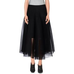 Milly 3/4 Length Skirt ($250) ❤ liked on Polyvore featuring skirts, black, black skirt, milly skirt and black knee length skirt