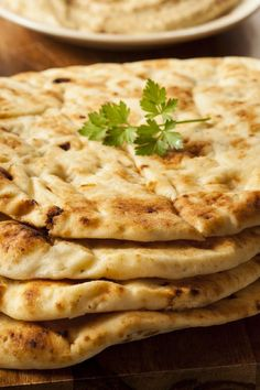 Homemade Naan Bread Recipe: I need this! My girls fight over the naan bread! Homemade Naan Bread, Recipes With Naan Bread, Bread And Pastries, I Love Food, Good Food, Yummy Food, Tasty, Indian Food Recipes, Foodies