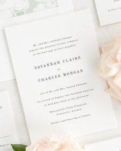 A mix of elegant serif fonts create a simple and classic feel on these stunning and timeless wedding invitations. Shown in black ink with a blooms envelope liner and belly band in olive leaf. Free Wedding Invitation Samples, Shine Wedding Invitations, Wedding Invitation Cards, Invitation Card Design, Invitation Envelopes, Invitation Paper, Our Wedding, Wedding Ideas, Wedding Goals