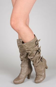 Bamboo Verde-66 Slouchy Leatherette Triple Buckle Knee High Boot - Taupe Crinkle