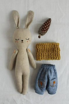 Bunny doll fabric doll made with organic linen organic cotton hemp dress and organic cotton scarf bunnydoll linendoll ecotoy organictoy organicdoll fabricdoll ragdollRabbit soft toy / bunny doll / grey flannelette or by willowynnbunny or bear soft to Crochet Patterns Amigurumi, Amigurumi Doll, Knitted Doll Patterns, Easy Knitting Projects, Sewing Projects, Fabric Toys, Fox Fabric, Pattern Fabric, Sewing Toys
