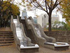 Go for a free slide at the Gene Leahy Mall - downtown Omaha, Nebraska Outdoor Stairs, Indoor Outdoor, Outdoor Decor, Stairway To Heaven, Utrecht, Stair Slide, Wow Art, Cool Inventions, Interior Exterior