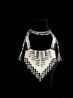 """Monochrome"" - 2012 - Adjustable length, SOLD. Woven by Terri Scache Harris, theravenscache.shutterfly.com   Hand woven, handwoven, weaving, weave, needleweaving, pin weaving, woven necklace, fashion necklace, wearable art, fiber art."