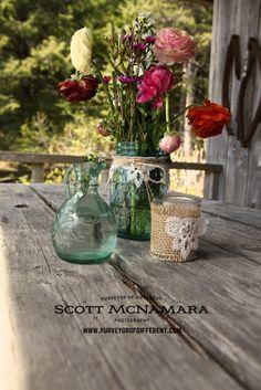 An Alaska wedding with awesome vintage elements.  Mason jars and local flowers.  www.purveyorofdifferent.com