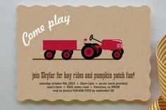 A Tractor Pull Children's Birthday Party Invitations by Two Ninjas at minted.com