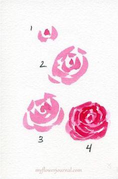 Como pintar aguarela simples Roses-myflowerjournal.com