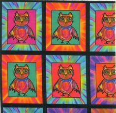 "CUTE OWL CHESSBOARD MEDIUM 20x20cm (8""x8"") fabric swatch printed on 130g cotton http://www.printmepretty.co.uk/1190/CUTE-OWL-CHESSBOARD-Medium-by-PAYSMAGE"