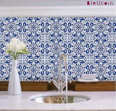 Tile decal  Portugal Tiles 44 Pieces by Bleucoin on Etsy, $68.49