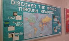 Bulletin board about reading.  Students can read books from around the world.  Then they can write summaries on post cards.