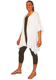 This flowing jacket has a simple rectangular design that lays flat on your table and is easy to fold and to tie-dye. Stitched up side seams. 100% flowing soft Rayon fabric.