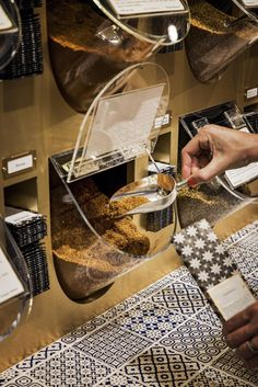 Spice display system at Gewurzhaus, The Strand Arcade, Sydney by Doherty Design… Supermarket Design, Retail Store Design, Retail Shop, Bakery Design, Cafe Design, Restaurant Design, Interior Design, Cafe Shop, Cafe Bar