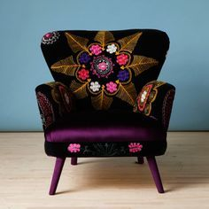 Furniture, : Stunning Image Of Furniture For Modern Living Room Decoration Using Chic Colorful Flower Embroidery Purple Velvet Armchair Along With Round Tapered Purple Chair Legs And Light Blue Living Room Wall Paint