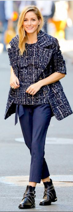 Who made  Olivia Palermo's tweed jacket, striped peplum top, and blue tie pants?