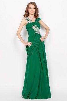 Pleated Bodice Floor Length Chiffon Natural Waist Fall Asymmetrical Neck Evening Dress