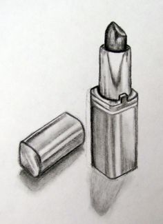 Still life lipstick pencil drawing . Still life lipstick pencil drawing Easy Pencil Drawings, Pencil Drawings For Beginners, Sad Drawings, Art Drawings Sketches, Charcoal Drawings, Shading Drawing, Makeup Drawing, Still Life Sketch, Easy Still Life Drawing