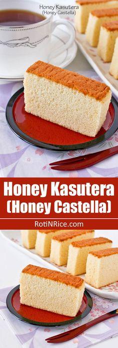 Miel Kasutera (miel Castella) - textura fina bizcocho japonés levantado únicamente por espuma de huevo.  Sólo 4 ingredientes - huevos, azúcar, harina de pan y miel.  |  RotiNRice.com