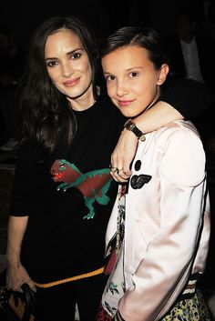 Winona Ryder and Millie Bobby Brown attends the Coach 1941 Women's Spring 2017…